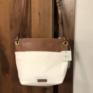 Fossil Keeley Crossbody, Bone/Brown, NWT